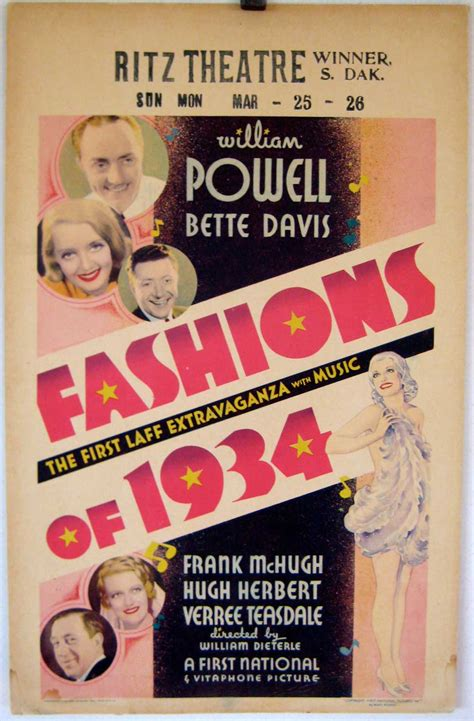 """FASHIONS OF 1934"" MOVIE POSTER - ""FASHION OF 1934"" MOVIE ..."