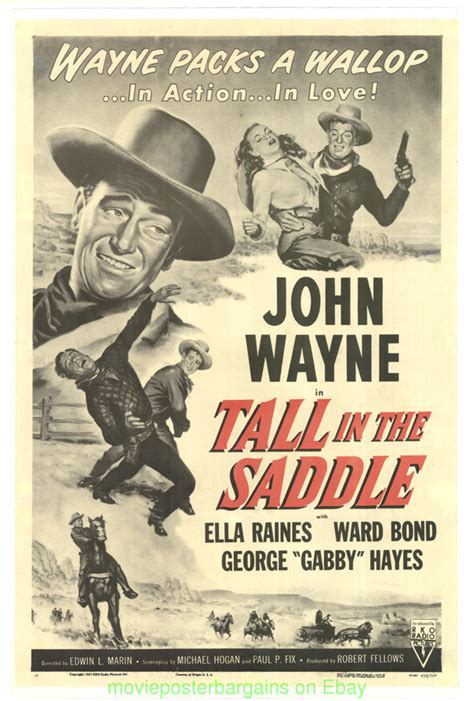 TALL IN THE SADDLE MOVIE POSTER JOHN WAYNE R1954 LB | eBay